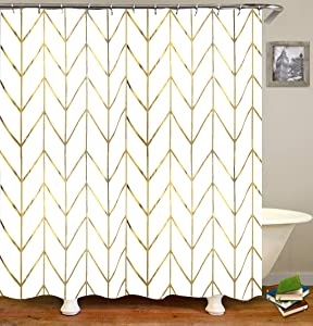 "JTMall Shower Curtain with Gold Chevron, Geometric Pattern, Gold Shower Curtain Hooks/Rings, White Fabric, 72"" x 72"", Bathroom Decor (Golden Stripes)"