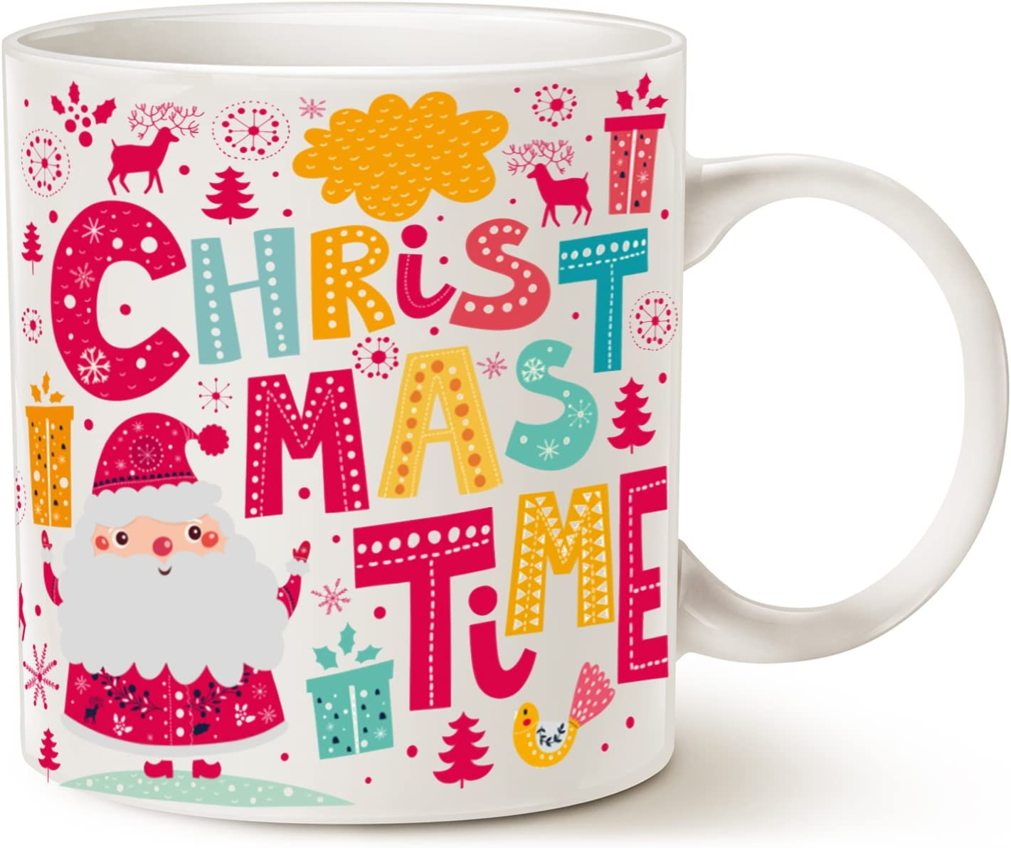 MAUAG Santa Claus Funny Coffee Mug Unique Christmas Gifts -CHRISTMAS TIME Ceramic Cup  White 14Oz by LaTazas