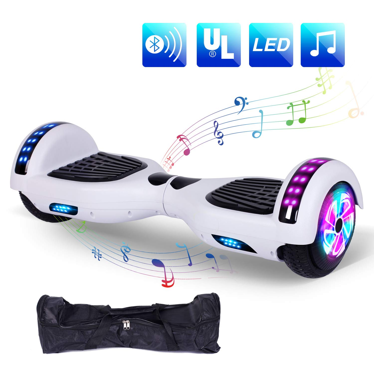 """YHR Hoverboard Self Balancing Scooter 6.5"""" Two Wheel Electric Scooter - UL Certified 2272 Bluetooth W/Speaker, LED Wheels and LED Lights"""