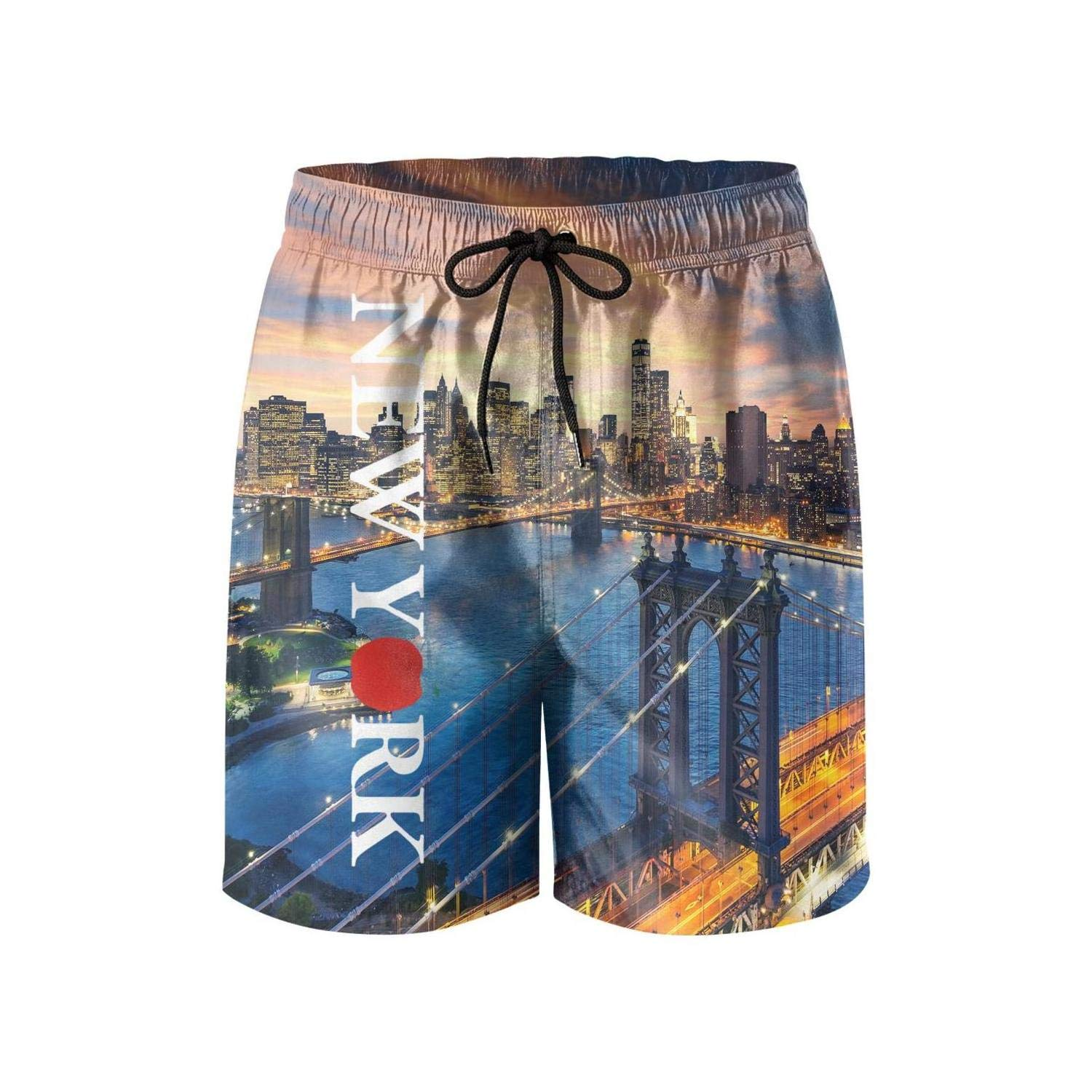 New York Love Heart Men Casual Shorts Summer Breathable Quick Dry Swim Trunks