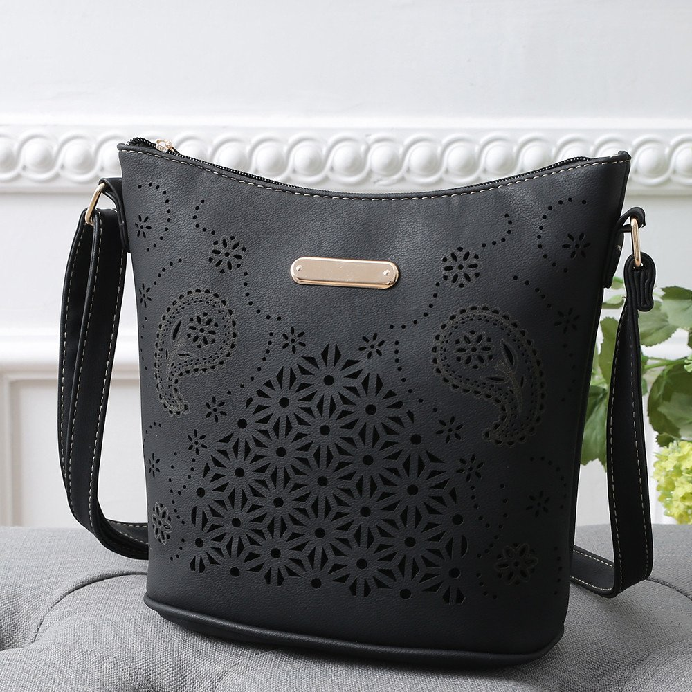 aad17e6d5e Amazon.com  VESNIBA LLC Womens Leather Purse Satchel Cross Body Hollow Out  Shoulder Bag Messenger Bag  Shoes