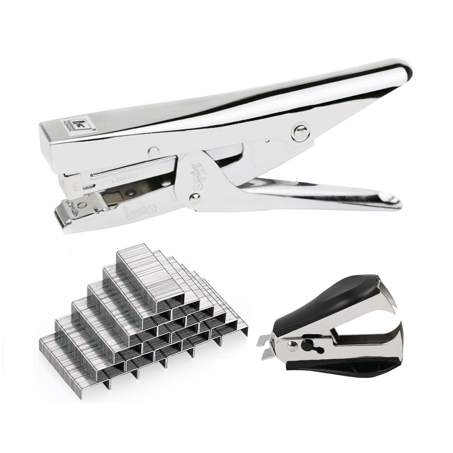 Chris.W Metal Plier Stapler with 2000Pcs 24/6 Staples and Remover Set - 20 Sheets Capacity - Full Desktop Office Size Work