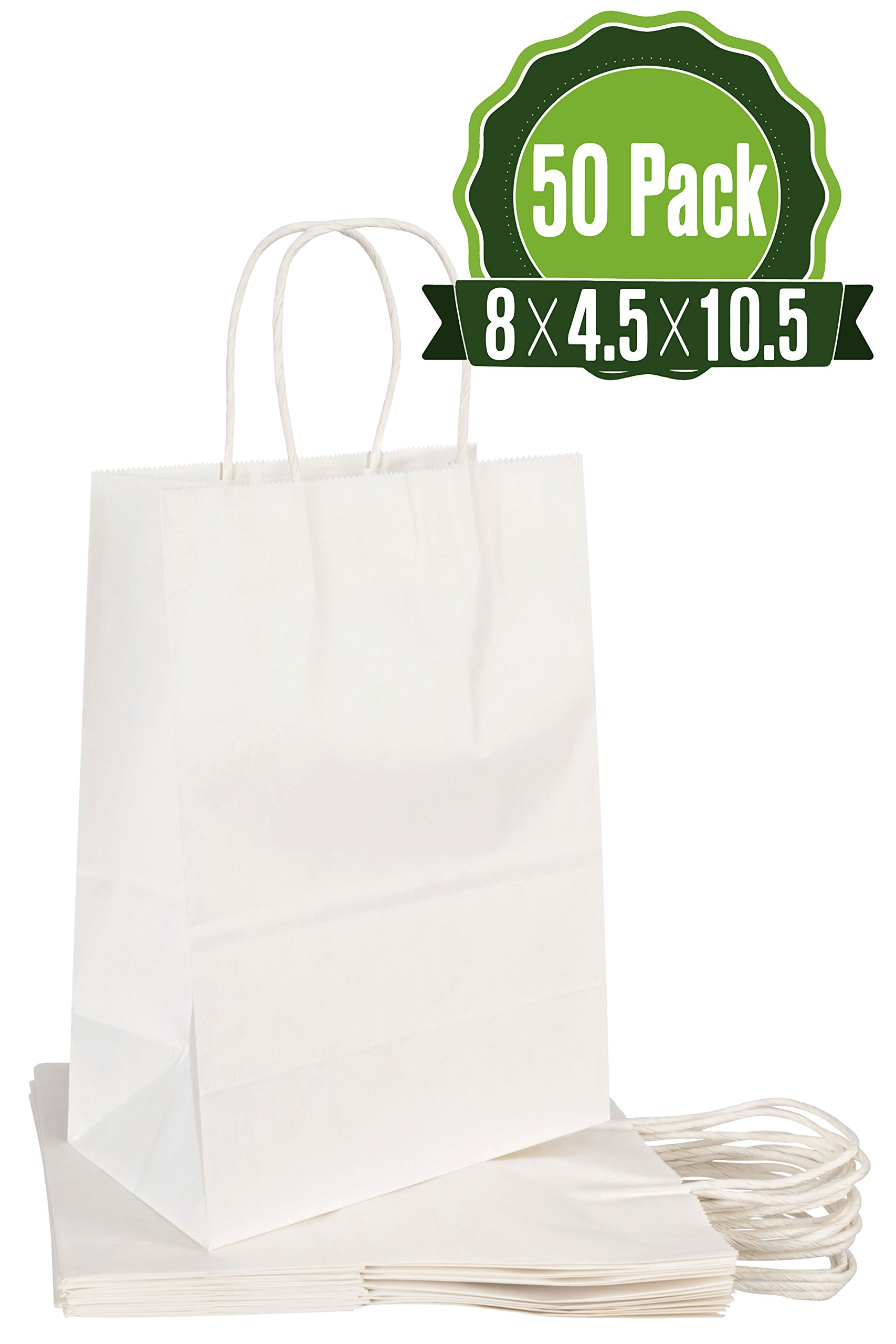 White Kraft Paper Gift Bags with Handles, 50 Pcs 8x4.5x10.5 Shopping, Packaging, Retail, Party, Craft, Gifts, Wedding, Recycled Merchandise Bag