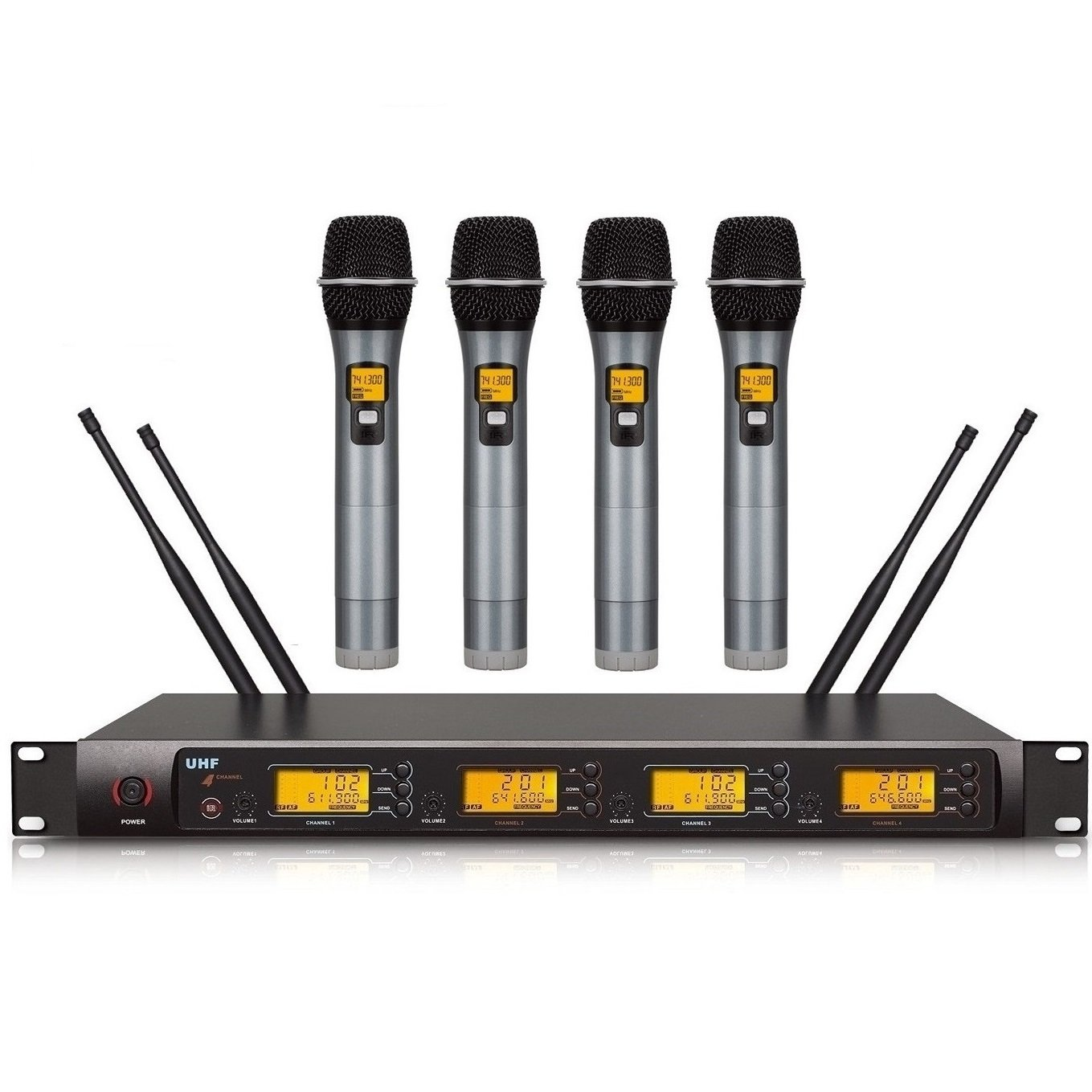 4x100 Channels UHF PLL Handheld Wireless Microphone Professional For Church,Home Karaoke, Business Meetings.Easy To Set Up