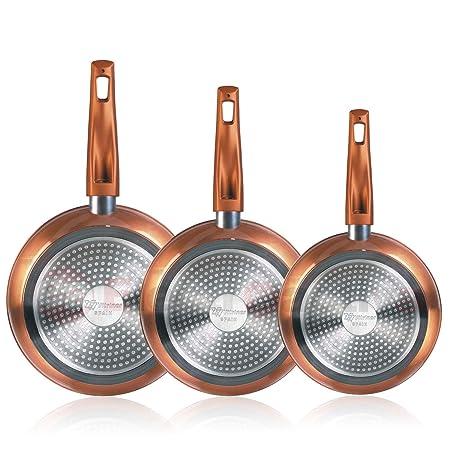 Magefesa Granada - Set Juego 3 Sartenes 20-24-28 cm Aluminio Forjado, inducción, Antiadherente Libre de PFOA, Limpieza lavavajillas Apta para Todas ...