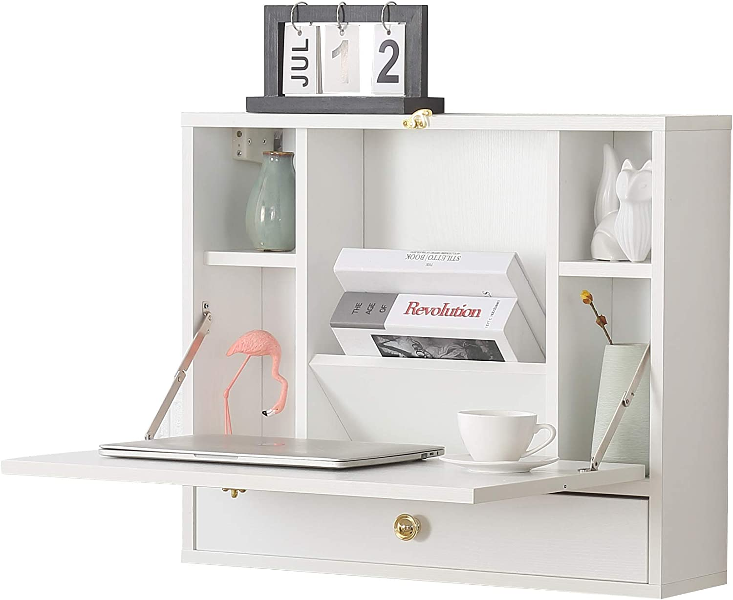 Wall Mounted Table, Folding Laptop Desk Wall-Mount Writing Desk with Storage Shelves & Drawer, Wall Mounted Desk for Home, Office, Small Spaces(White)