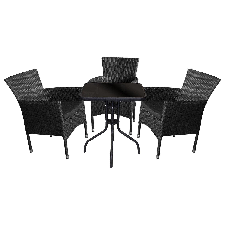 4tlg. Bistrogarnitur Balkonmöbel Terrassenmöbel Set Sitzgarnitur Sitzgruppe Gartengarnitur - Glastisch, Tischglasplatte schwarz undurchsichtig, 60x60cm + 3x Rattansessel, stapelbar inkl. Sitzpolster
