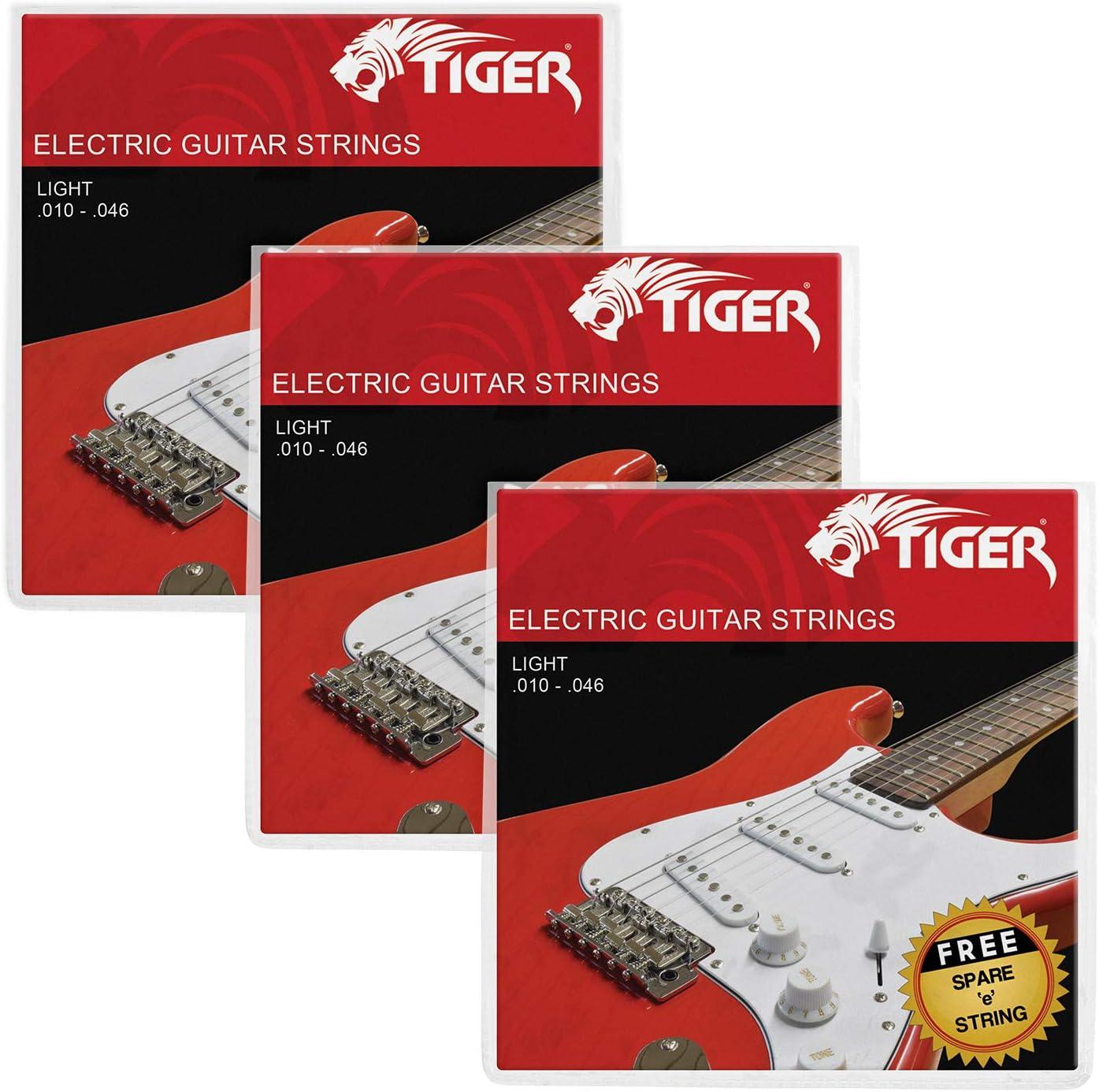 Tiger - Cuerdas para guitarra eléctrica – Pack de 3 juegos de luces (10-46)