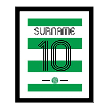 f510f7e6e4a Official PERSONALISED Celtic FC Retro Shirt 16 x 13 Framed Print - FREE  Personalisation: Amazon.co.uk: Sports & Outdoors