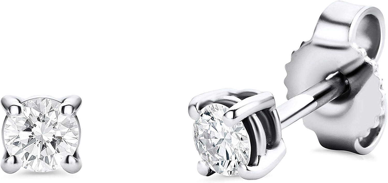 Orovi - Pendientes para mujer con diamantes de oro blanco de 14 quilates (585) y diamante de 0,25 quilates