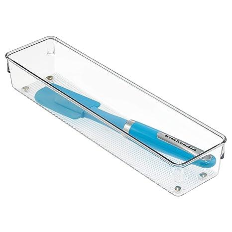 iDesign Cubertero para dividir cajones, separador de cajones alargado de plástico, ideal como organizador de cajones de cocina, transparente