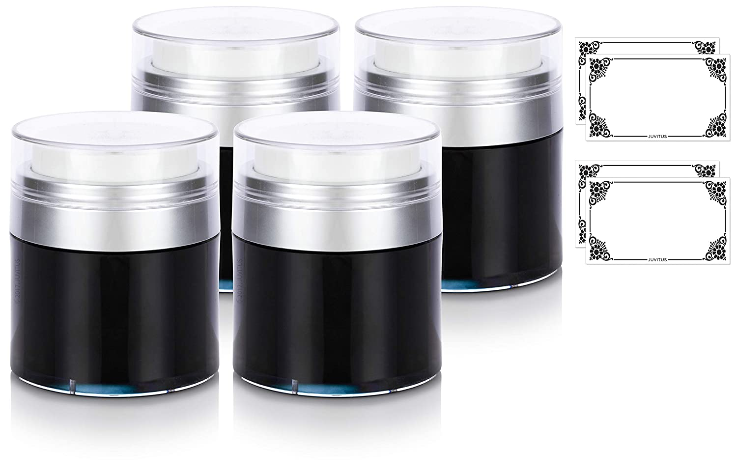 Black and Silver Airless Refillable Jar 1.7 oz / 50 ml (4 Pack) Keeps Out Bacteria and air Changing Oxidation from Your Skin Care Products - Durable, Leak Proof, and shatterproof for Home or Travel