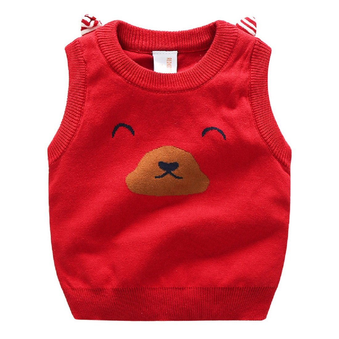 Goodluckclothes Kids Boys 100% Cotton Cartoon Logo Bear Knitting Vests Sweaters 2-10Years