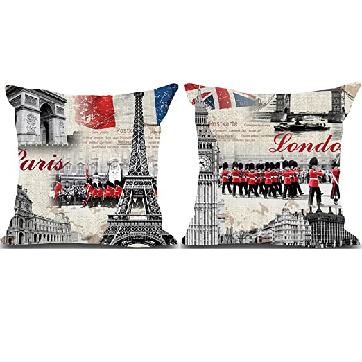 BQ Funda de cojín Retro Paris Royal Soldier New York Vintage ...