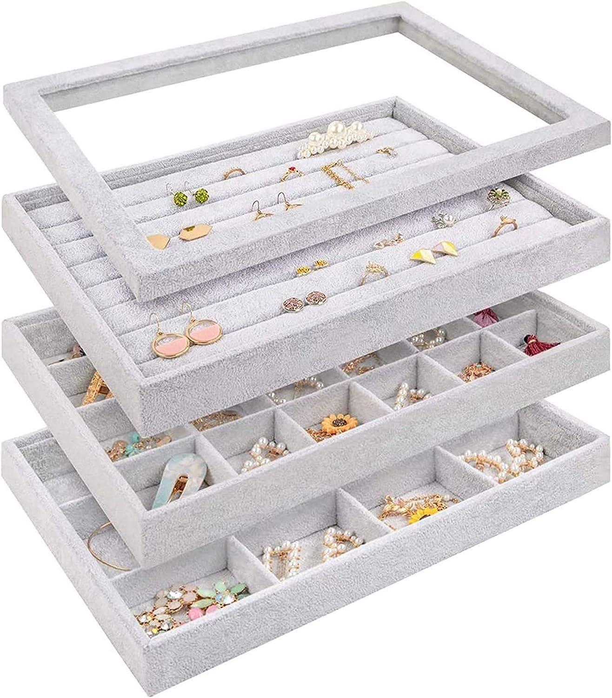 Beige, 10 Slots Frebeauty Jewelry Trays Velvet Clear Lid Organizer