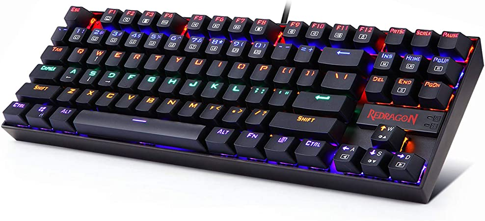 Redragon K552 Mechanical Gaming Keyboard 87 Keys 60% Small TKL Mechanical Computer Keyboard KUMARA USB Wired Cherry MX Blue Equivalent Switches for ...
