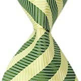 Allbebe Classic Striped Yellow Green Jacquard Woven 100% Silk Men's Tie Necktie