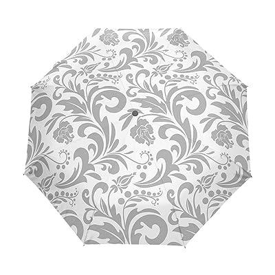ALAZA Gray Floral Damask 3 Folds Auto Open Close Anti-UV Umbrella