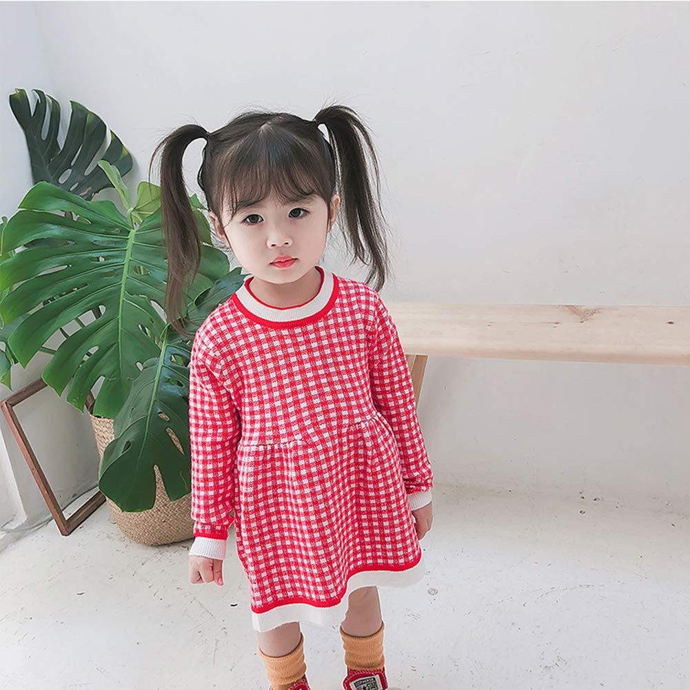 91ccae60 red KUKEONON Newborn Baby Girl Sweater Dress Plaid Warm Long Sleeve Outfit  with Ruffles size 90 ...