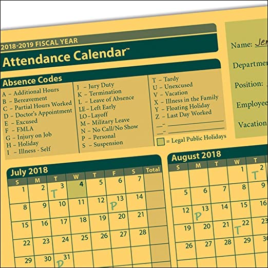 amazoncom complyright fiscal year attendance calendar 2018 2019 pack of 50 a4200amz office products