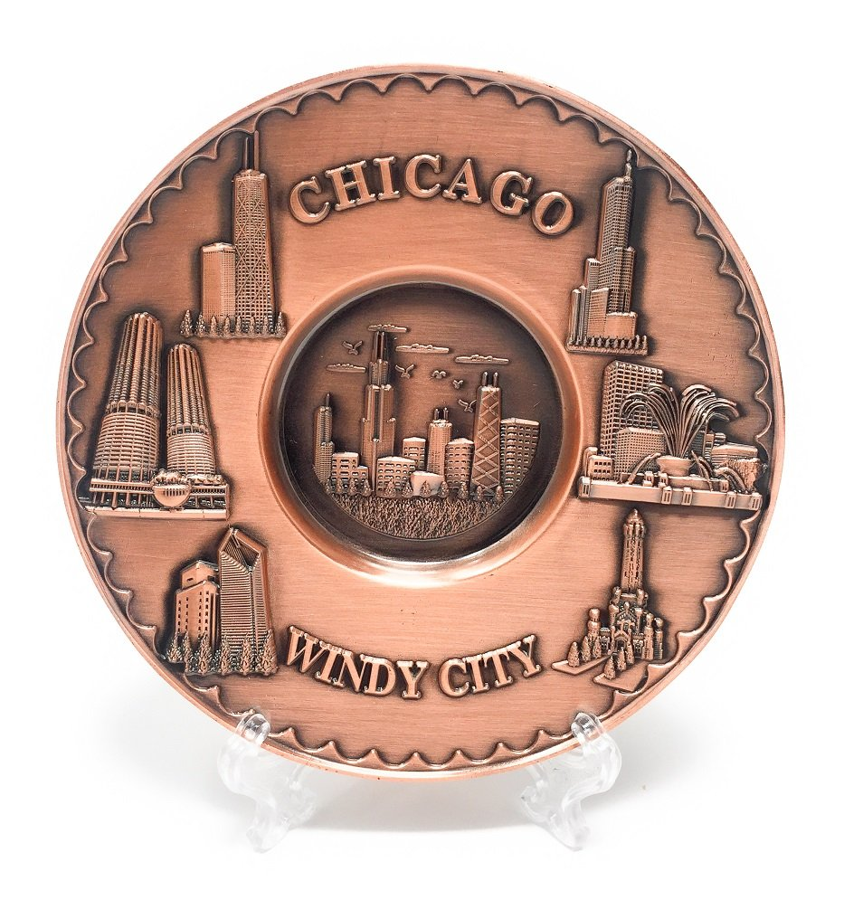 Chicago Souvenir Plate Copper Toned 3D Metal with Stand (5 in. Diameter) All Things Chicago
