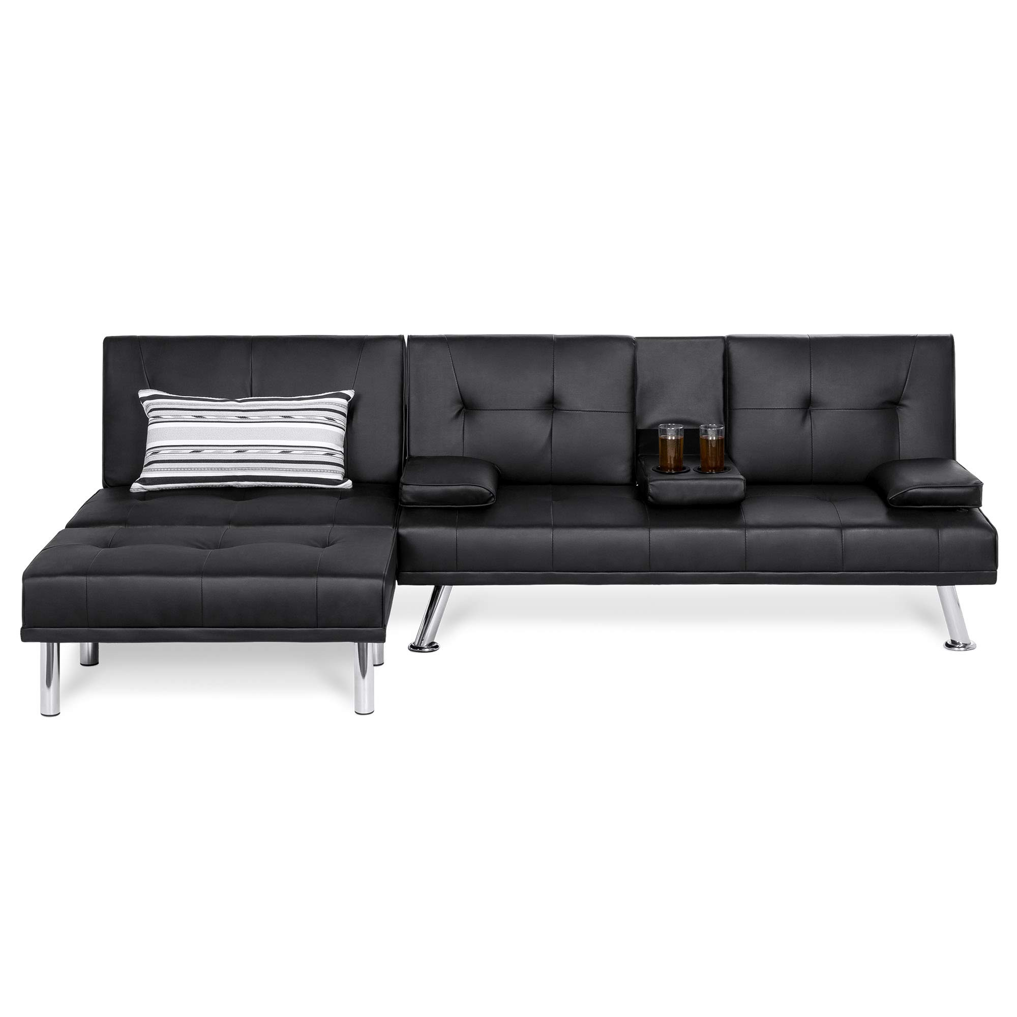 Best Choice Products Faux Leather Upholstery 3-Piece Modular Modern Living Room Sofa Sectional Furniture Set w/Convertible Double Futon Bed, Single-Seat Futon, and Footstool, Reclining Backrests by Best Choice Products