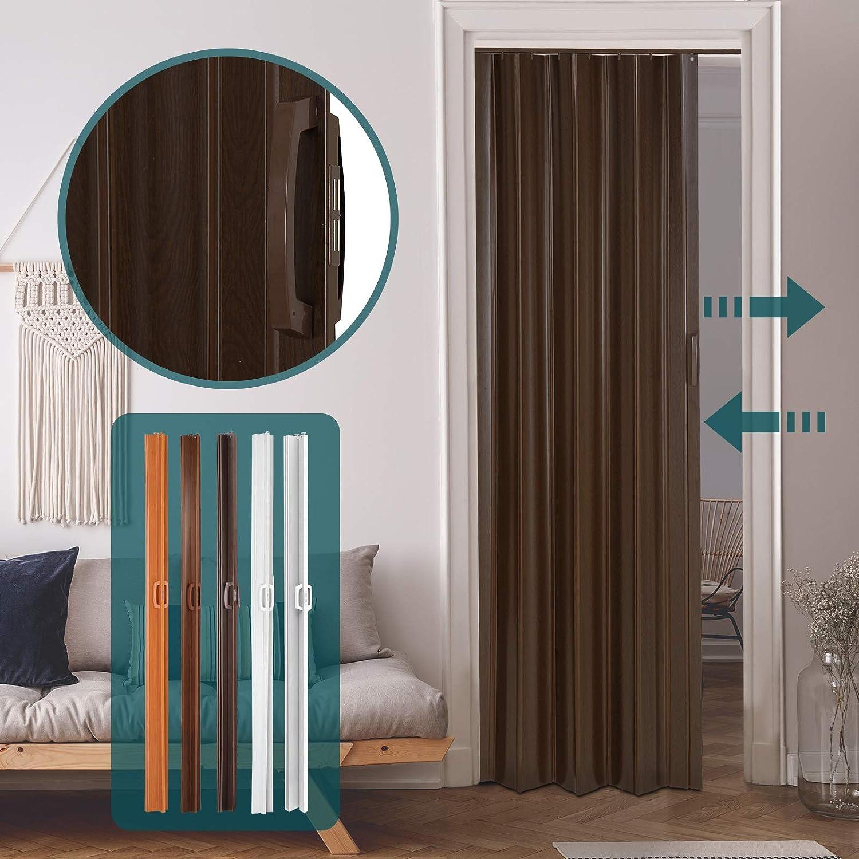 Jago – Puerta plegable de PVC – Roble oscuro - aprox. 84/8/202 cm ...