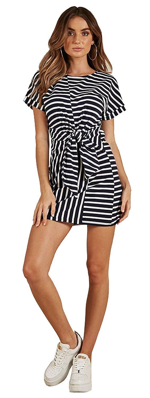MIDOSOO DRESS レディース B07DN9W1GT Small|ブラック&ホワイト ブラック&ホワイト Small