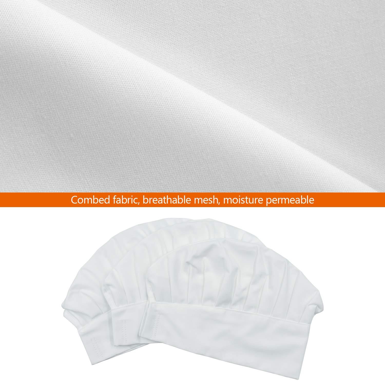 cococity 3pz Cappello da Cuoco Regolabile Cappello Professionale in Cotone per Cucina Caff/è Ristorante Hotel Bianco