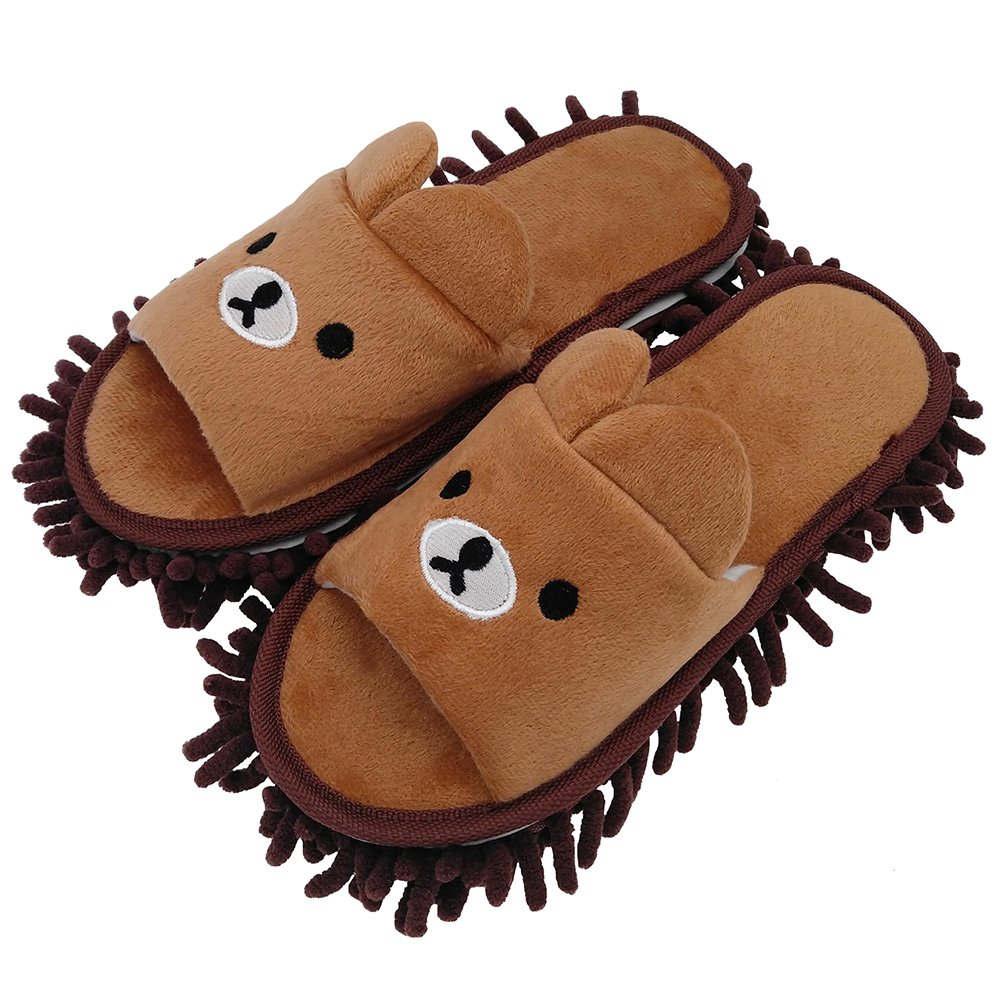 Selric Bear Image Super Chenille Microfiber Washable Mop Slippers Shoes for Women, Floor Dust Dirt Hair Cleaner, Multi-sizes & Multi-Colors Available 9 7/9''[Size:5.5-8.5.]