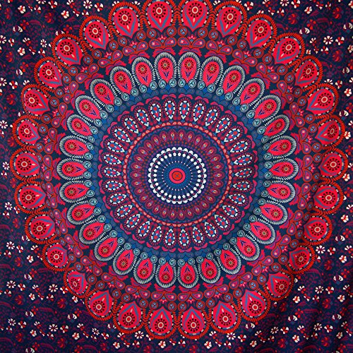 HomeFairy Purple Peacock Mandala Tapestry Wall Hanging - Large Bohemian Hippie Art Decor - Indian Ombre Design - Long Lasting Vivid Colors Machine Washable - Queen Size 80 x 60 inch
