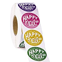 WRAPAHOLIC Happy Mail Business Stickers - 8 Kinds Colors Thank You Stickers, Shipping Stickers - 1.5 x 1.5 Inch 1000…
