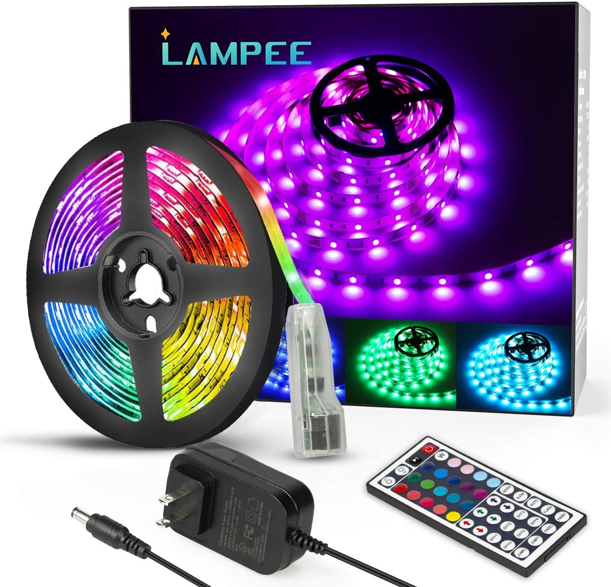 LED Strip Lights, Lampee 16.4ft 12V Flexible RGB Lights Color Changing, 5050 SMD Rope Light Kit with Remote Controller and 150 LEDs for Home, Kitchen, Bedroom, DIY Decoration