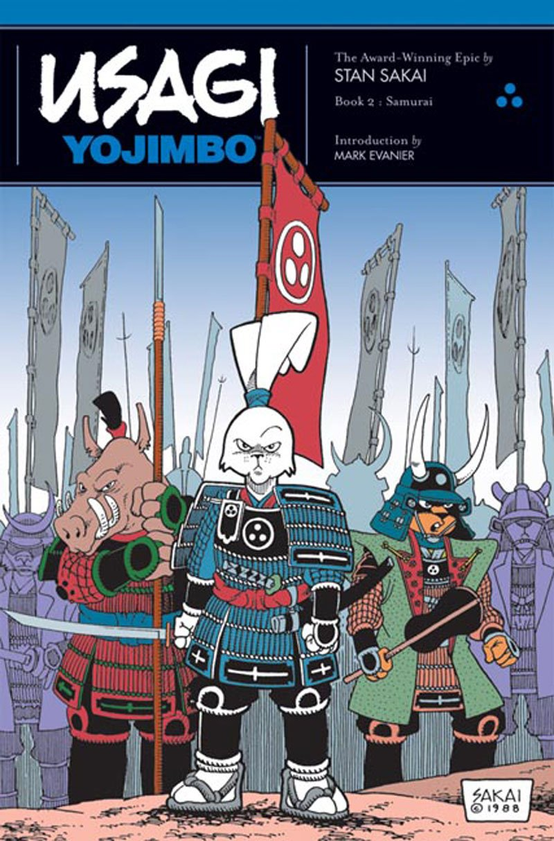 Comic book cover for Usagi Yojimbo, featuring a rabbit, a boar and a cat dressed for battle