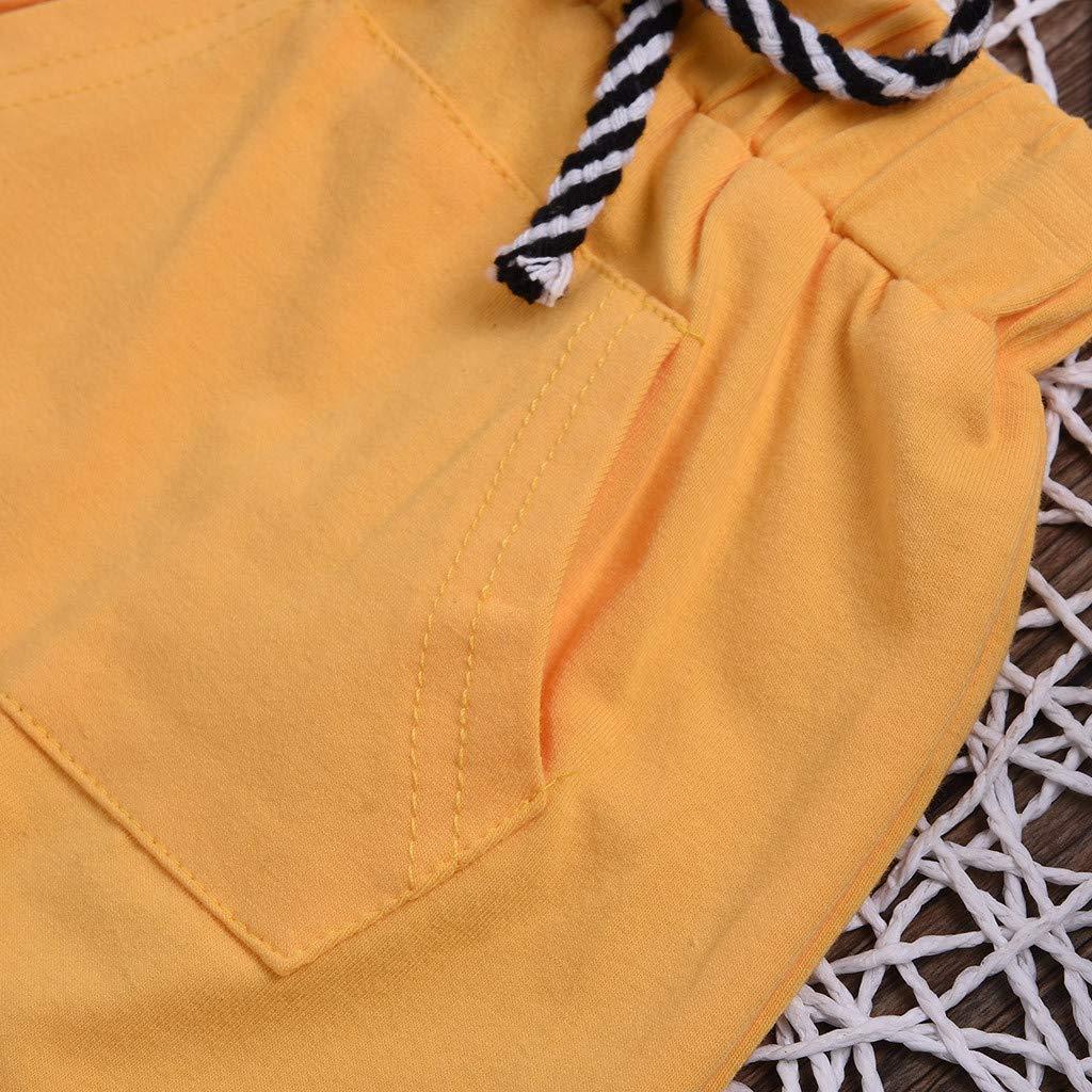 i-uend Kinder Baby Sommer Shorts Neugeborenen Jungen M/ädchen Baumwolle Shorts Infant Casual Tasche Elastischer Bund Strand Shorts Sommer F/ür 0-4 Jahre