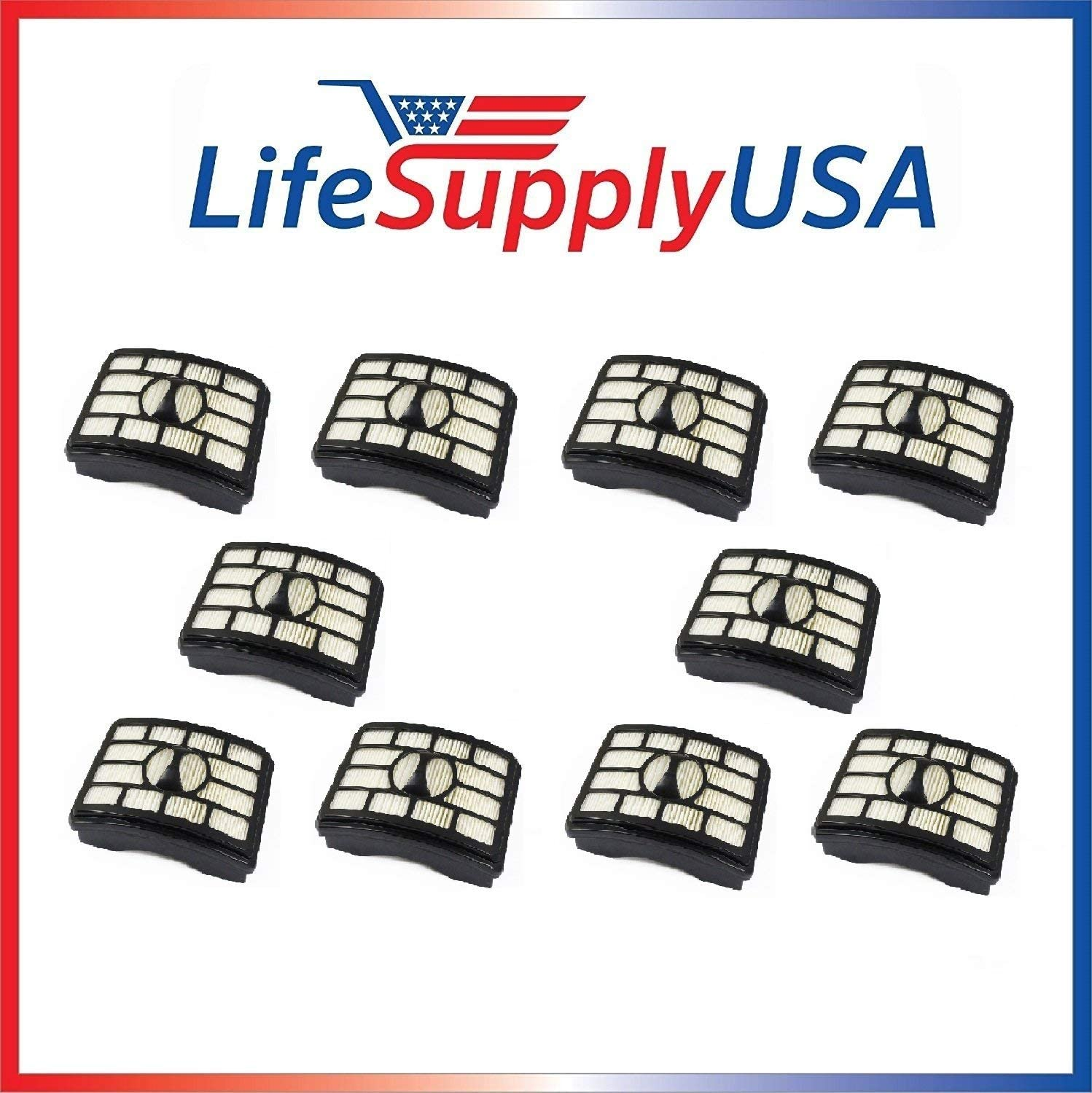 LifeSupplyUSA 10 Pack HEPA Filters Compatible with Shark NV500 Rotator Pro Lift-Away Vacuum Cleaners, Part XFH500