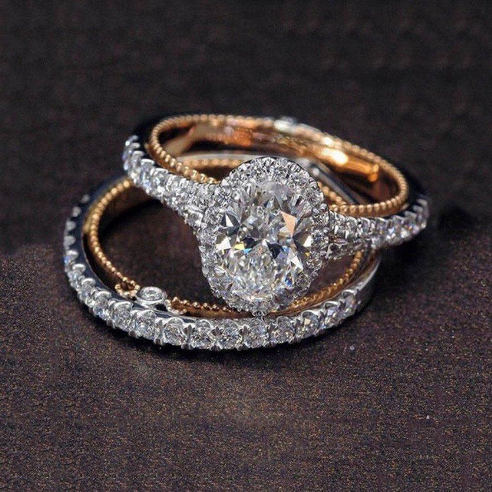 Keepfit/_Rings Rings for Couples,Keepfit Fashion Full Rhinestone Engagement Copper Ring Set