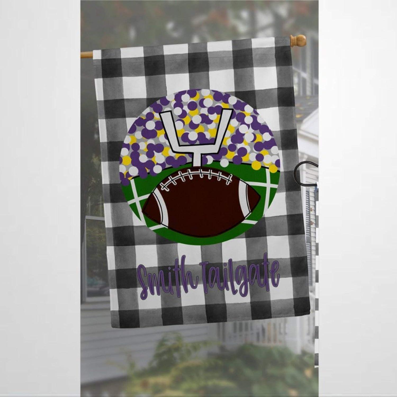 BYRON HOYLE Personalized Garden Flag Purple Football Tailgate Fall House Flag Garden Decor House Flag Housewarming Present Yard Flag Farmhouse Decor Yard Holiday Seasonal Outdoor Decor