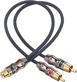"""Devinal RCA/Phono Splitter Cable RCA Female to Dual Male Gold Plated Adapter, Stereo Audio Y-Cable Heavy Duty (1 Female to 2 Male) 10""""(25 cm)"""