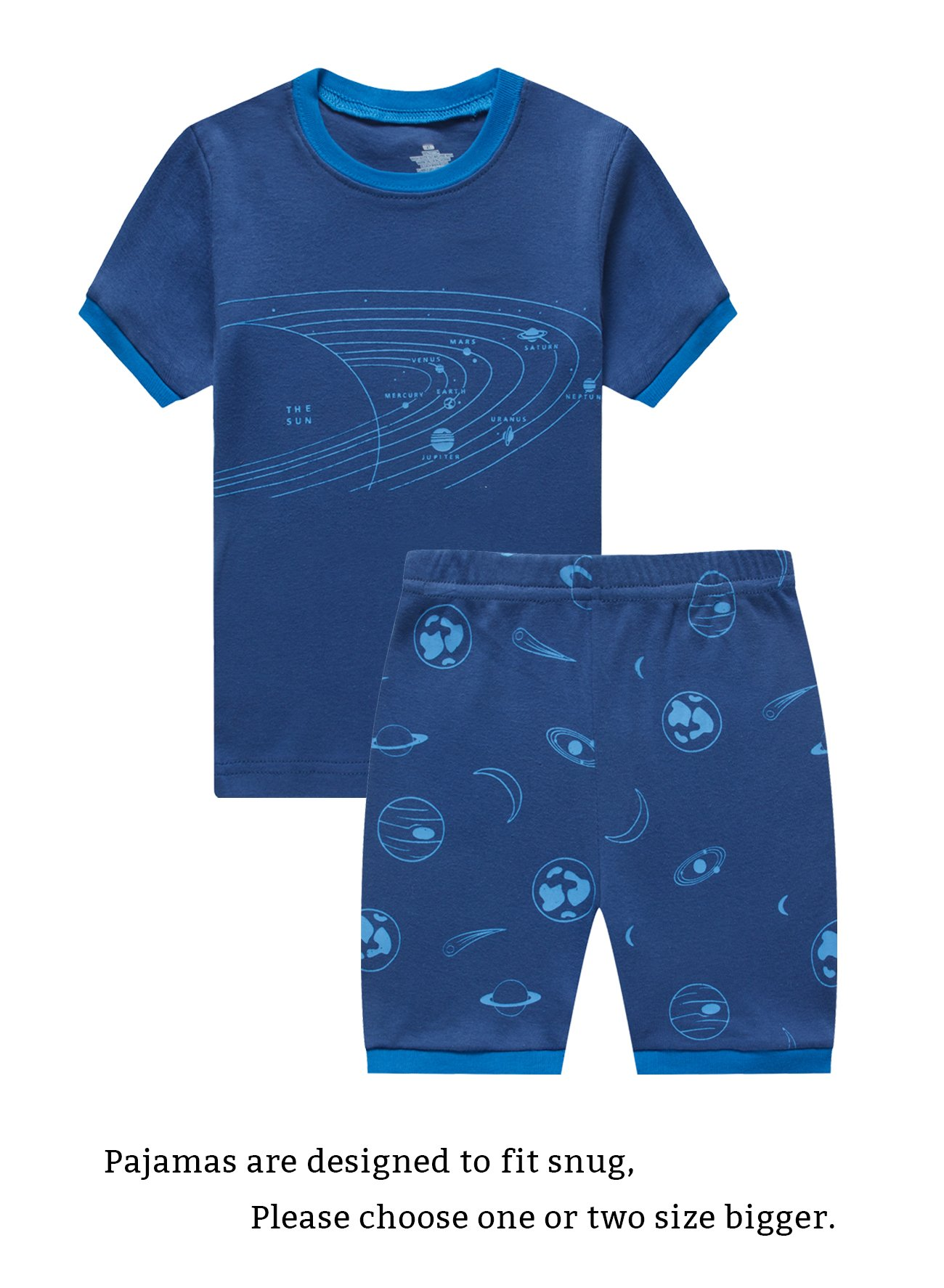 Family Feeling Space Big Boys Short Sleeve Pajamas Sets 100% Cotton Pyjamas Kids Pjs Size 8 Blue