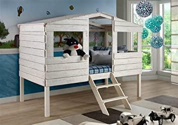 Amazon Com Donco Kids Twin Tree House Loft Bed In Rustic Sand