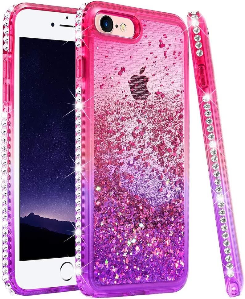 "Ruky iPhone 6 6S 7 8 Glitter Case, iPhone SE 2020 Case, Gradient Quicksand Series Liquid Floating Bling Diamond Flexible TPU Girls Women Phone Case for iPhone 6/6s/7/8/SE 2020 4.7"" (Pink Purple)"