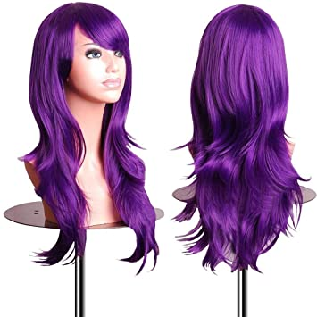 Amazon.com  EmaxDesign Wigs 28 Inch Cosplay Wig For Women With Wig Cap and  Comb (Dark Purple)  Beauty 0475fd4a8