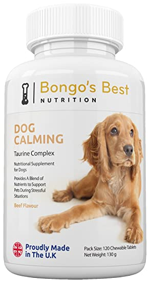 Tranquilizante canino de Bongos Best – Compuesto de taurina | Suplemento Natural Relajante para Perros |