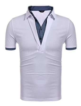 e78884e03 COOFANDY Men's Polo Shirts Casual Slim Fit V-Neck Short Sleeve T Shirt  Pullover,