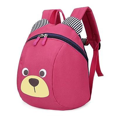 FRISTONE Mini-sac à dos école Maternelle Enfant Bébé Filles tout-petit Sac Garçons Kindergarten Backpack Toddler avec sangles de sécurité,Rose Rouge