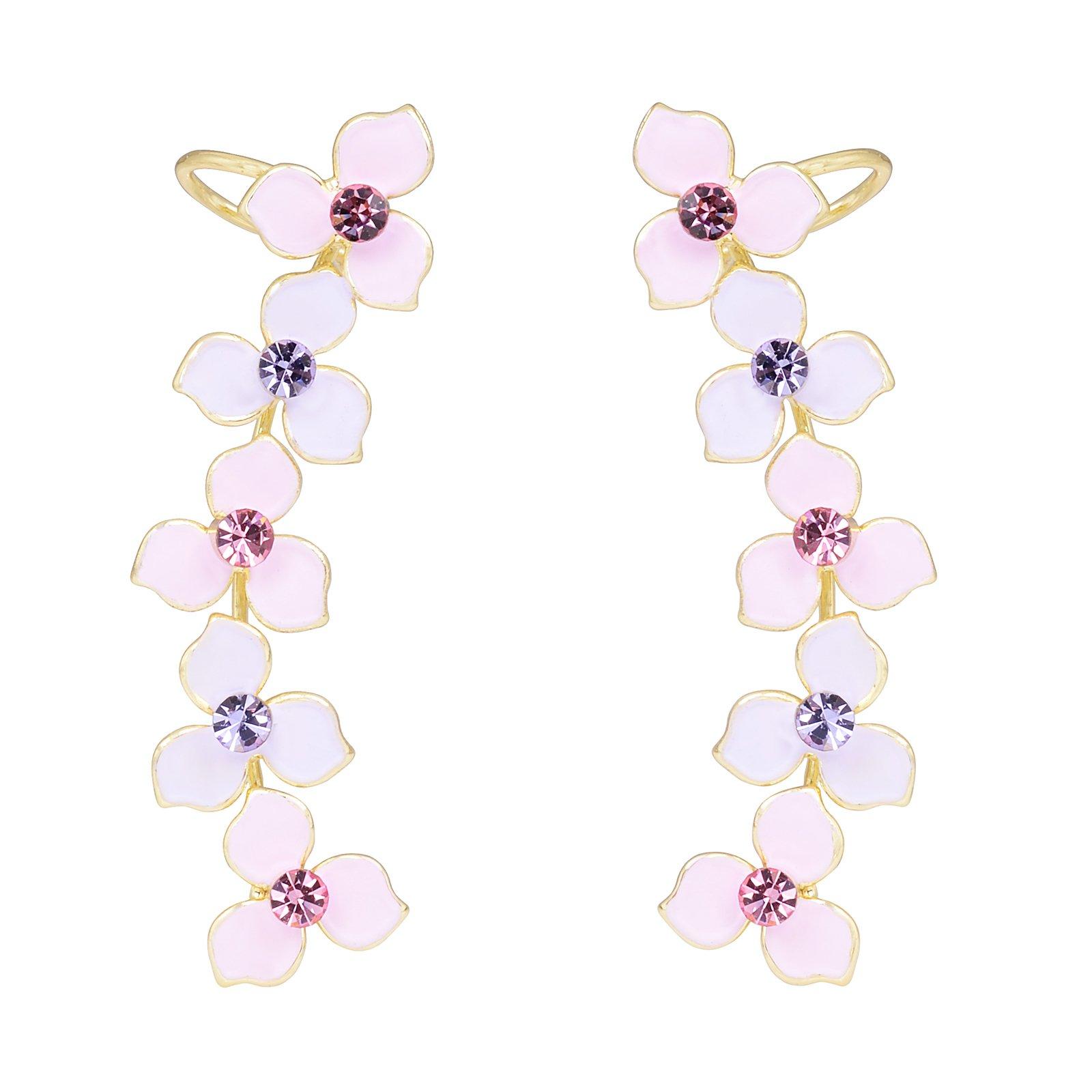 OBONNIE Women Crystal Four Leaf Clover Ear Crawler Earrings Flower Climber Ear Cuff Rhinestone Wrap Pin (Pink)
