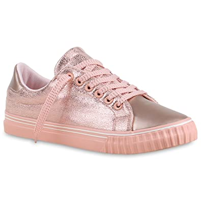 Stiefelparadies Glänzende Damen Sneakers Glitzer Metallic Sneaker Low Pailletten  Flats Turn Leder-Optik Schuhe 133613