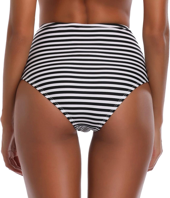 SHEKINI Donna Vintage Costumi da Bagno Due Pezzi A Vita Alta Bikini Imbottito Stripe Halter Push Up Ruffle Strap Costume da Bagno con Balza