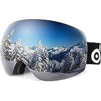 Odoland S2 OTG - anteojos de esquí sin Montura esféricas para Hombre y Mujer, Lentes Dobles para esquí, Snowboard, Motos de Nieve, protección UV400 y antiniebla